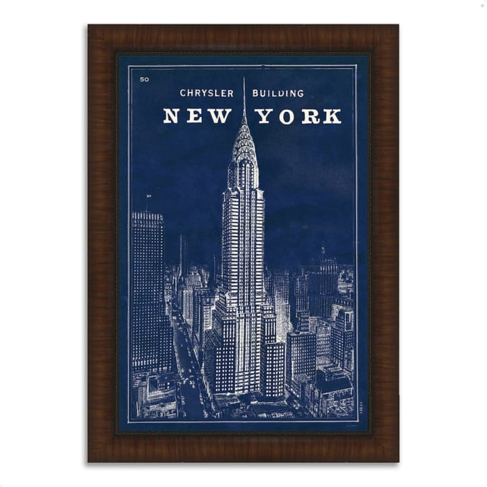 Framed Painting Print 44 In. x 63 In. Blueprint Map New York by Sue Schlabach Multi Color