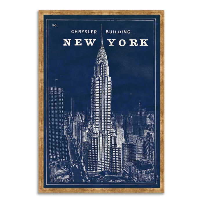 Framed Painting Print 26 In. x 38 In. Blueprint Map New York by Sue Schlabach Multi Color