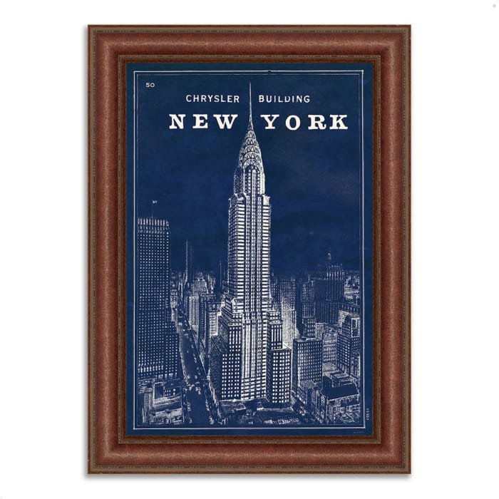 Framed Painting Print 45 In. x 64 In. Blueprint Map New York by Sue Schlabach Multi Color