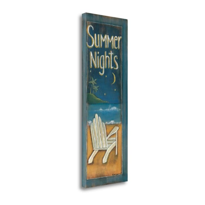 Fine Art Giclee Print on Gallery Wrap Canvas 12 In. x 34 In. Summer Nights By Kim Lewis Multi Color