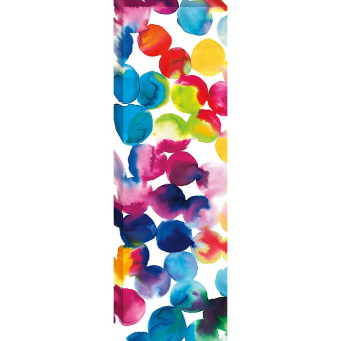 Ready to Hang 12 In. x 36 In. Bright Circles II Fine Art Giclee Print on Gallery Wrap Canvas , Multi Color