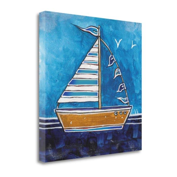 Fine Art Giclee Print on Gallery Wrap Canvas 18 In. x 18 In. Boat II By Stuart Roy Multi Color
