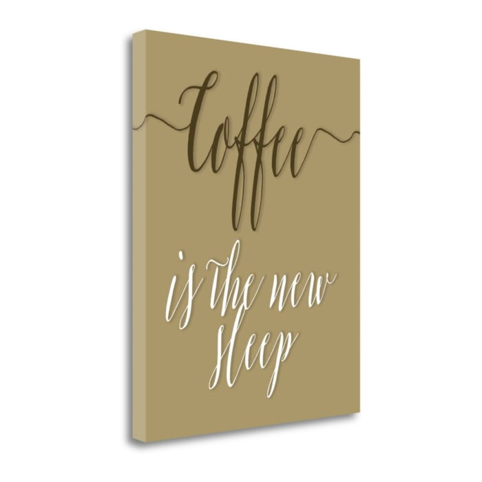 Fine Art Giclee Print on Gallery Wrap Canvas 16 In. x 20 In. Coffee Is The New Sleep By Tara Moss Multi Color