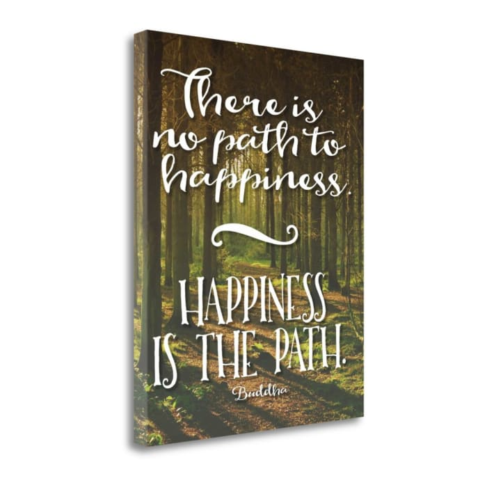 Giclee Print on Gallery Wrap Canvas 16 In. x 20 In. Buddha Path To Happiness By Tara Moss Multi Color