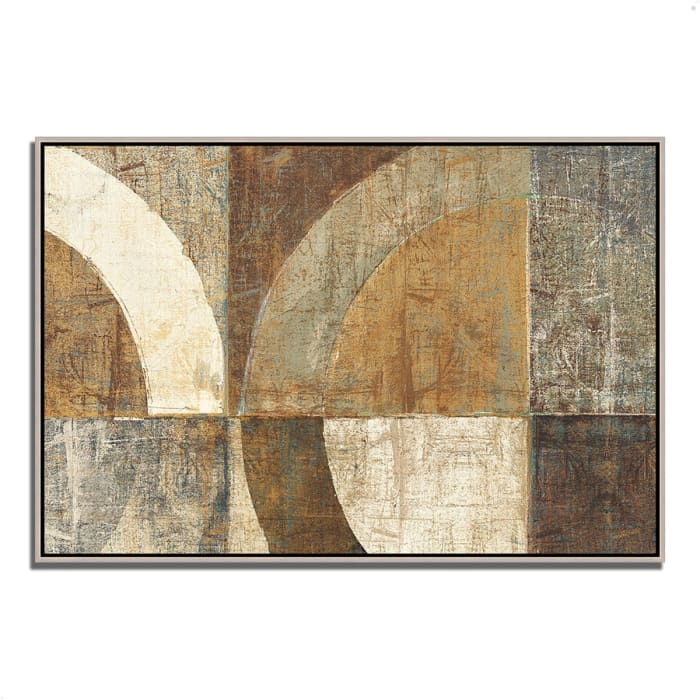 Fine Art Giclee Print on Gallery Wrap Canvas 32 In. x 22 In. Circular Sculpture by Wild Apple Portfolio Multi Color