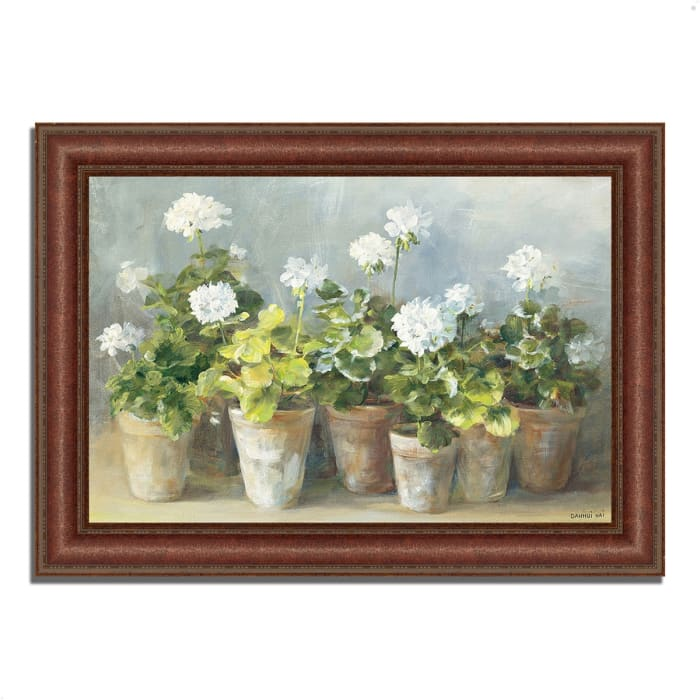 Framed Painting Print 52 In. x 37 In. White Geraniums by Danhui Nai Multi Color
