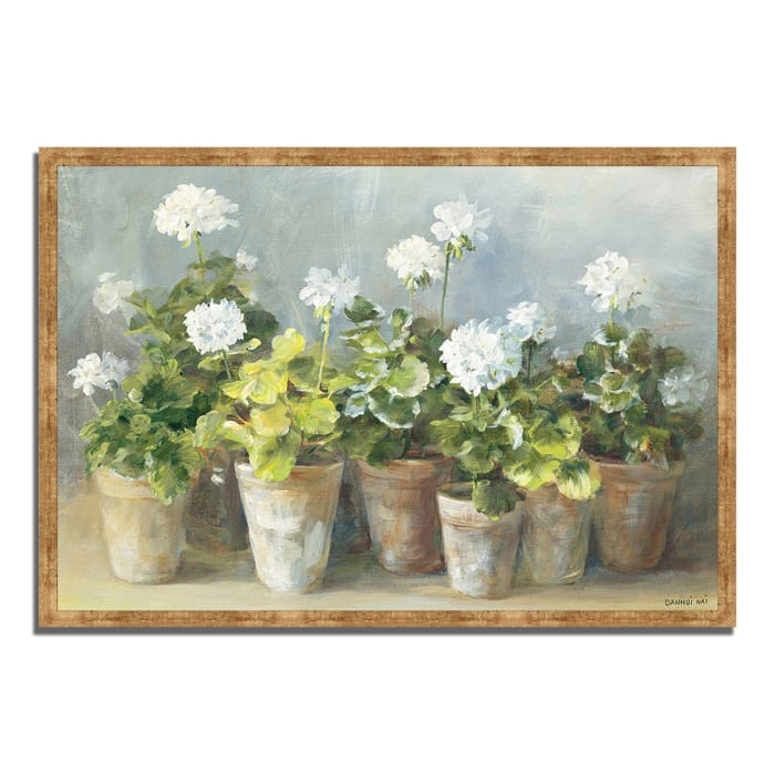Framed Painting Print 47 In. x 32 In. White Geraniums by Danhui Nai Multi Color