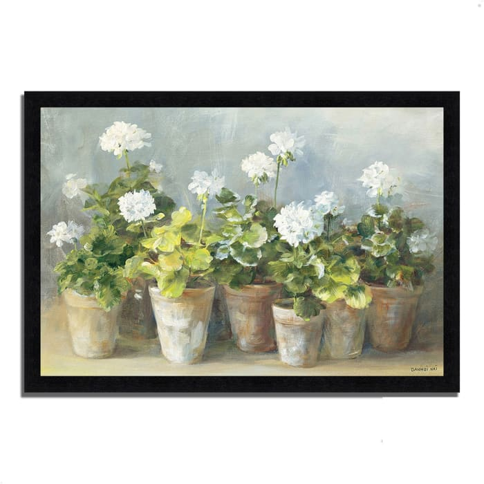 Framed Painting Print 60 In. x 41 In. White Geraniums by Danhui Nai Multi Color