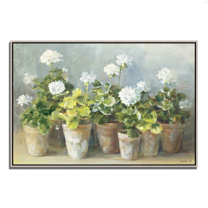 Fine Art Giclee Print on Gallery Wrap Canvas 38 In. x 26 In. White Geraniums by Danhui Nai Multi Color