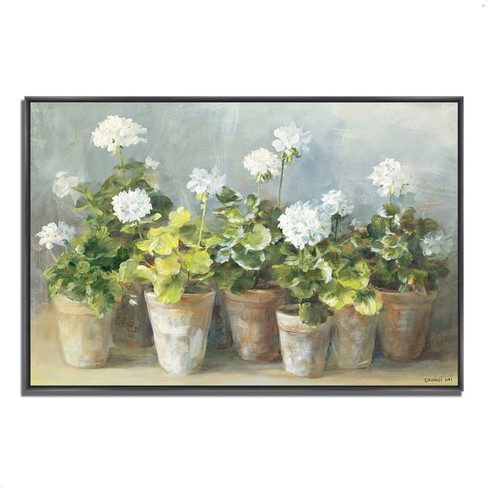 Fine Art Giclee Print on Gallery Wrap Canvas 47 In. x 32 In. White Geraniums by Danhui Nai Multi Color