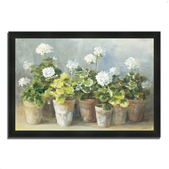 Framed Painting Print 33 In. x 23 In. White Geraniums by Danhui Nai Multi Color