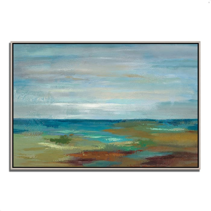 Fine Art Giclee Print on Gallery Wrap Canvas 32 In. x 22 In. Wispy Clouds by Silvia Vassileva Multi Color