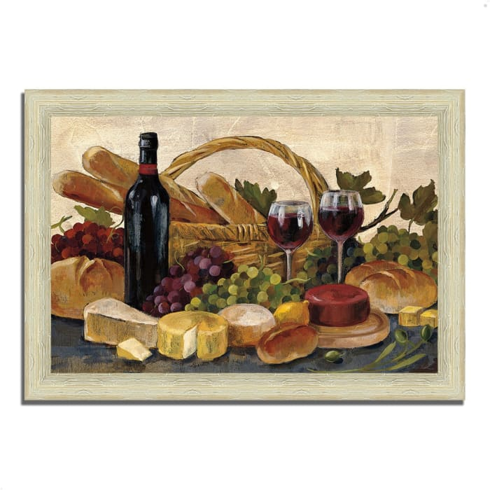 Framed Painting Print 42 In. x 30 In. Tuscan Evening Wine by Silvia Vassileva Multi Color