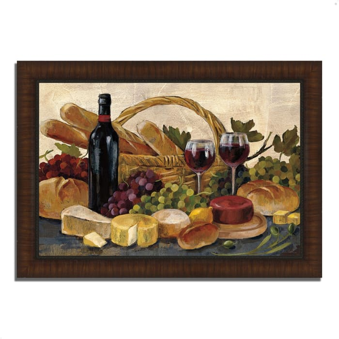 Framed Painting Print 36 In. x 26 In. Tuscan Evening Wine by Silvia Vassileva Multi Color