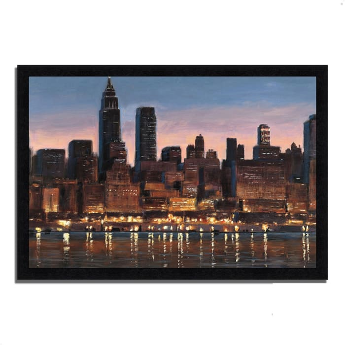 Framed Painting Print 33 In. x 23 In. Manhattan Reflection by James Wiens Multi Color