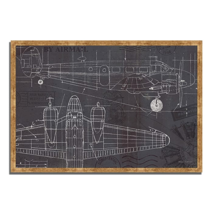 Framed Painting Print 47 In. x 32 In. Plane Blueprint I by Marco Fabiano Multi Color