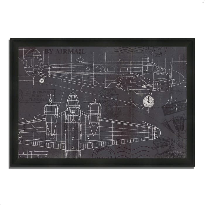 Framed Painting Print 33 In. x 23 In. Plane Blueprint I by Marco Fabiano Multi Color