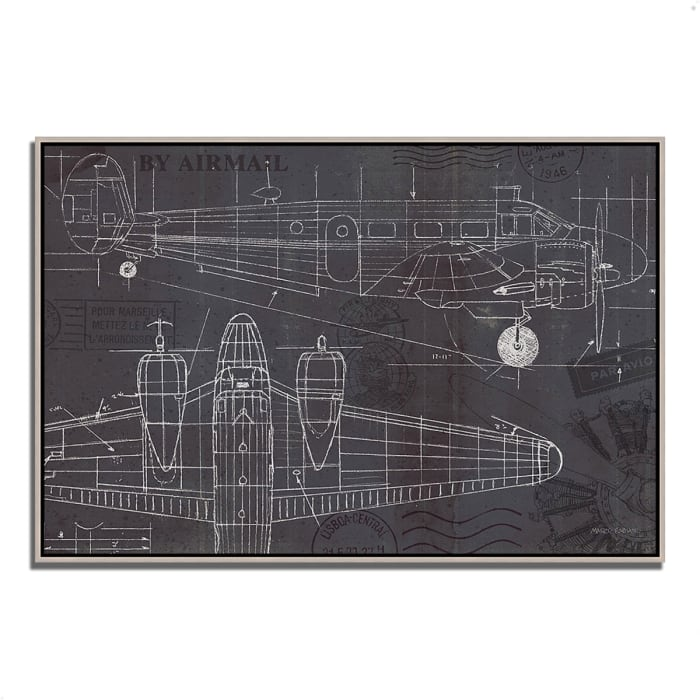 Fine Art Giclee Print on Gallery Wrap Canvas 38 In. x 26 In. Plane Blueprint I by Marco Fabiano Multi Color