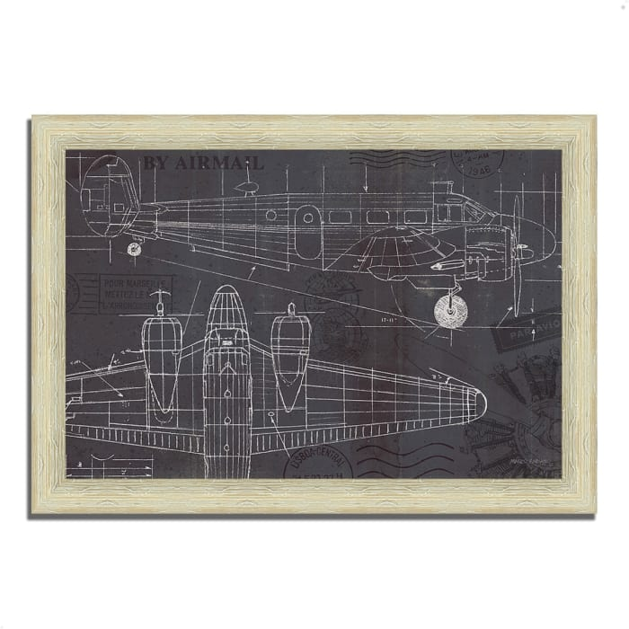 Framed Painting Print 51 In. x 36 In. Plane Blueprint I by Marco Fabiano Multi Color