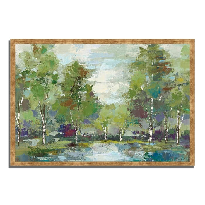 Framed Painting Print 38 In. x 26 In. Forest at Dawn by Silvia Vassileva Multi Color
