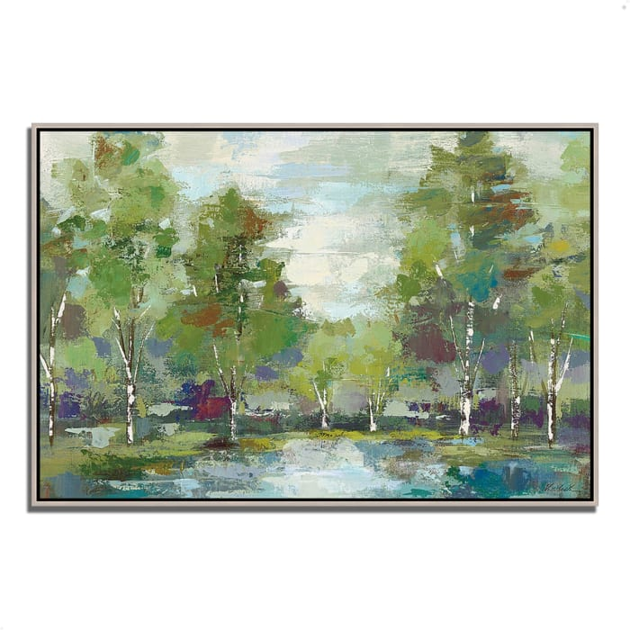 Fine Art Giclee Print on Gallery Wrap Canvas 47 In. x 32 In. Forest at Dawn by Silvia Vassileva Multi Color