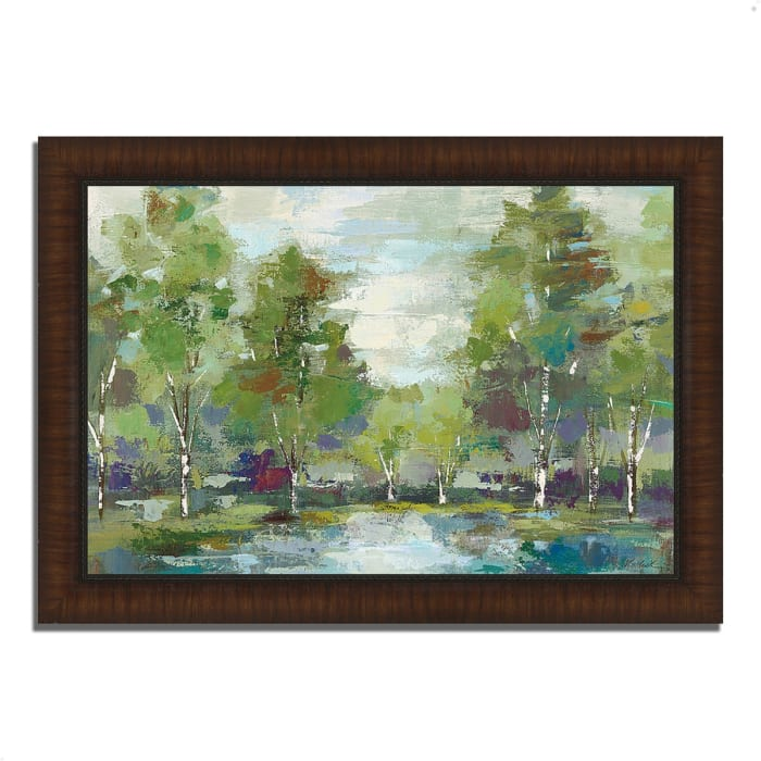 Framed Painting Print 36 In. x 26 In. Forest at Dawn by Silvia Vassileva Multi Color