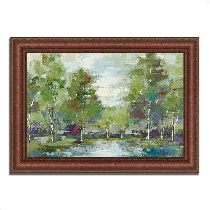 Framed Painting Print 52 In. x 37 In. Forest at Dawn by Silvia Vassileva Multi Color