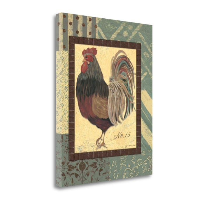 Fine Art Giclee Print on Gallery Wrap Canvas 16 In. x 20 In. Rooster No. 15 By Jo Moulton Multi Color