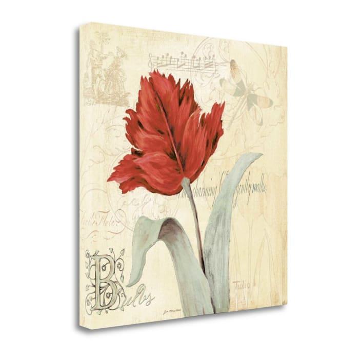 Fine Art Giclee Print on Gallery Wrap Canvas 20 In. x 20 In. Tulip Gem II By Jo Moulton Multi Color