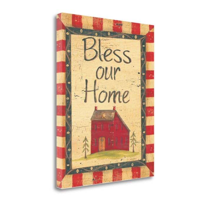 Fine Art Giclee Print on Gallery Wrap Canvas 16 In. x 20 In. Bless Our Home By Jo Moulton Multi Color