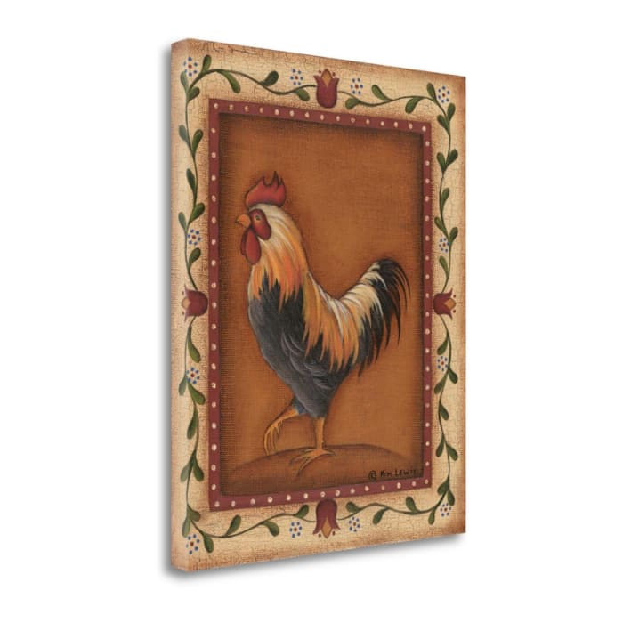 Fine Art Giclee Print on Gallery Wrap Canvas 16 In. x 20 In. Black Rooster By Kim Lewis Multi Color