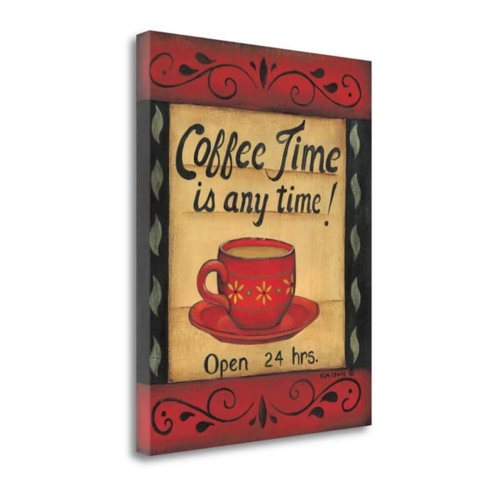 Fine Art Giclee Print on Gallery Wrap Canvas 16 In. x 20 In. Coffee Time Is Any Time By Kim Lewis Multi Color