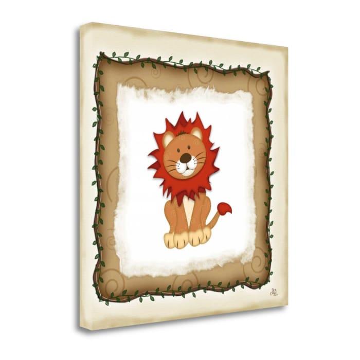 Fine Art Giclee Print on Gallery Wrap Canvas 20 In. x 20 In. Safari Lion By Jennifer Pugh Multi Color
