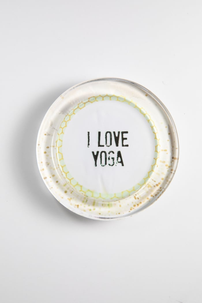 I Love Yoga Pink Dots Recycled Glass Coaster