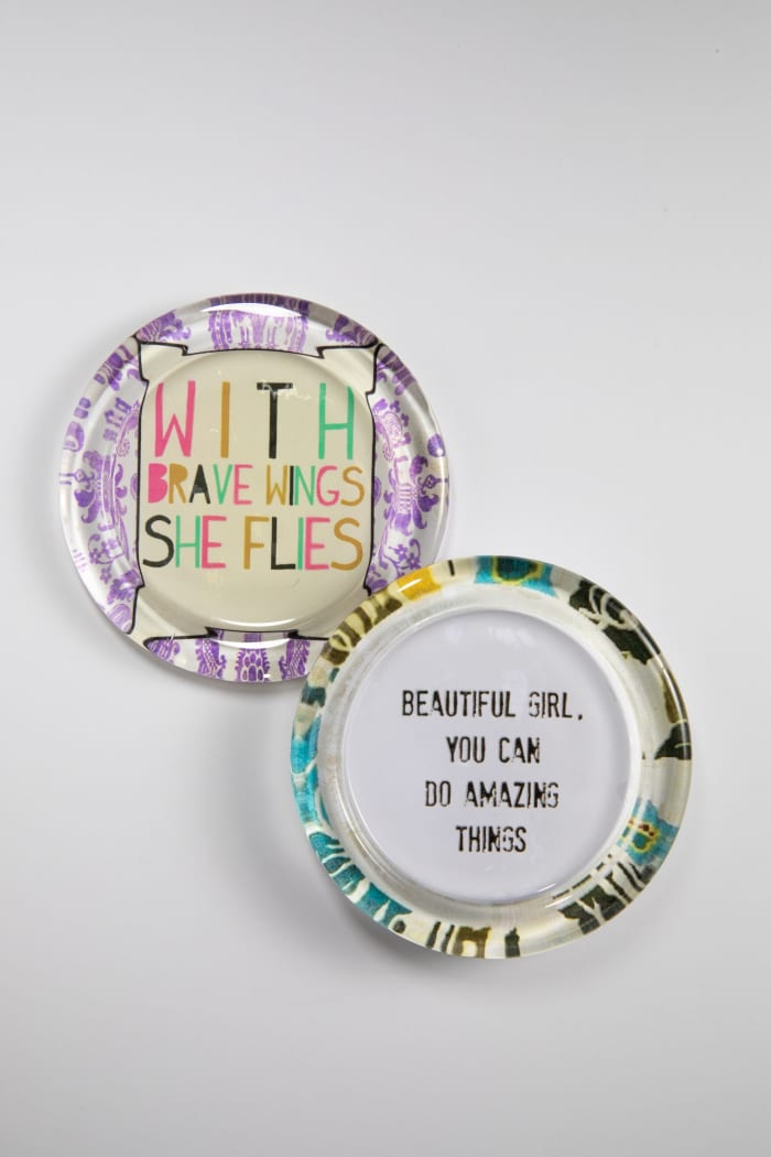 Inspirational Recycled Glass Coaster Set of 2