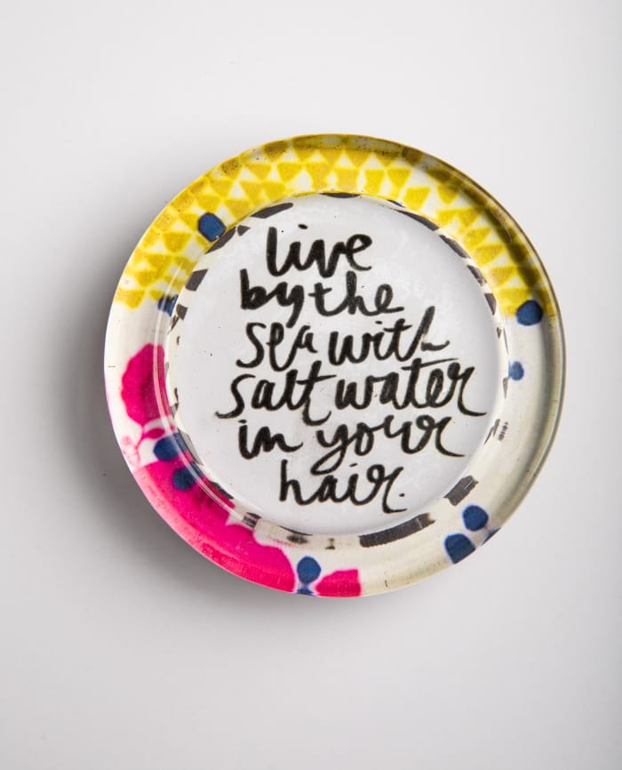 Live By The Sea Recycled Glass Coaster