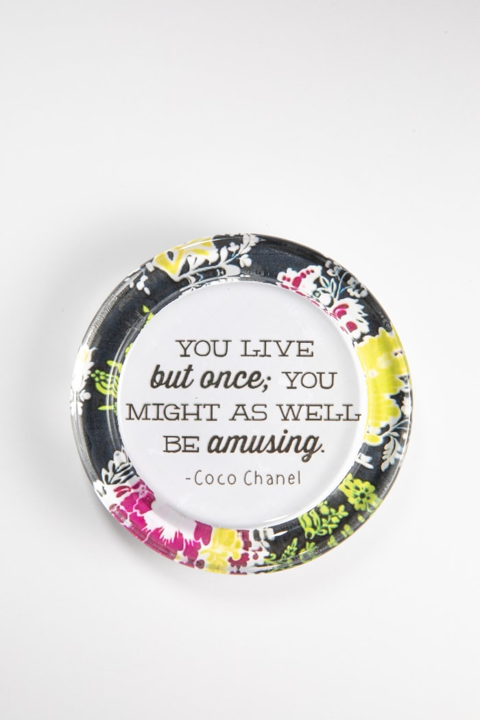 You Live Once Floral Recycled Glass Coaster