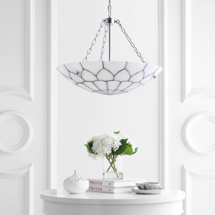 Adjustable Marble/Metal LED Pendant, White/Chrome