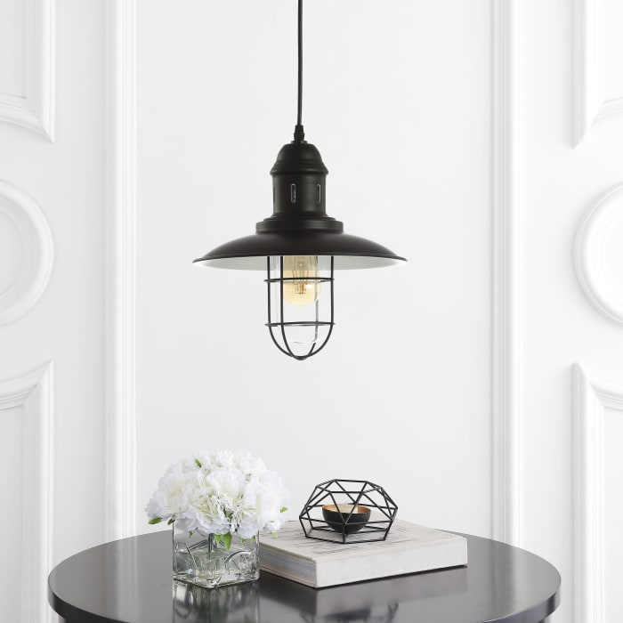 Adjustable Iron/Glass Cage Light LED Pendant, Black