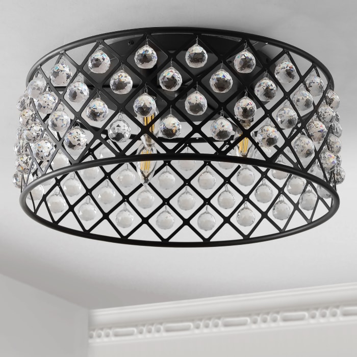 Metal/Crystal LED Flush Mount Ceiling Light, Oil Rubbed Bronze/Clear
