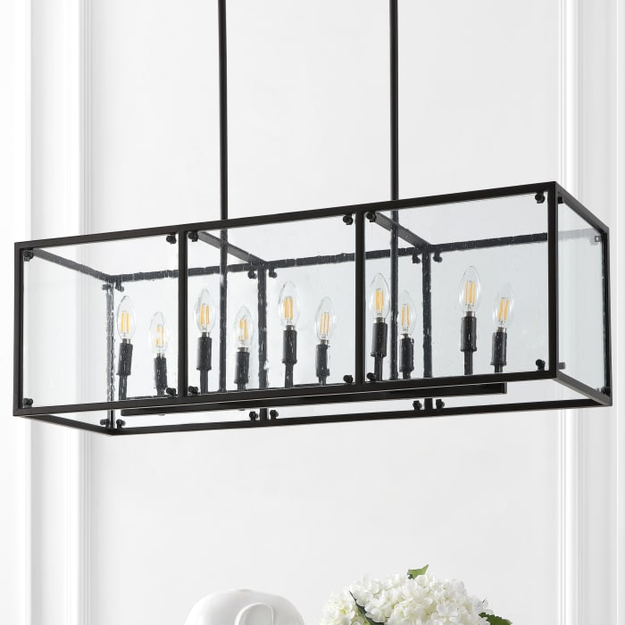 Linear 10-Light Adjustable Iron/Seeded Glass Rustic Farmhouse LED Pendant, Oil Rubbed Bronze