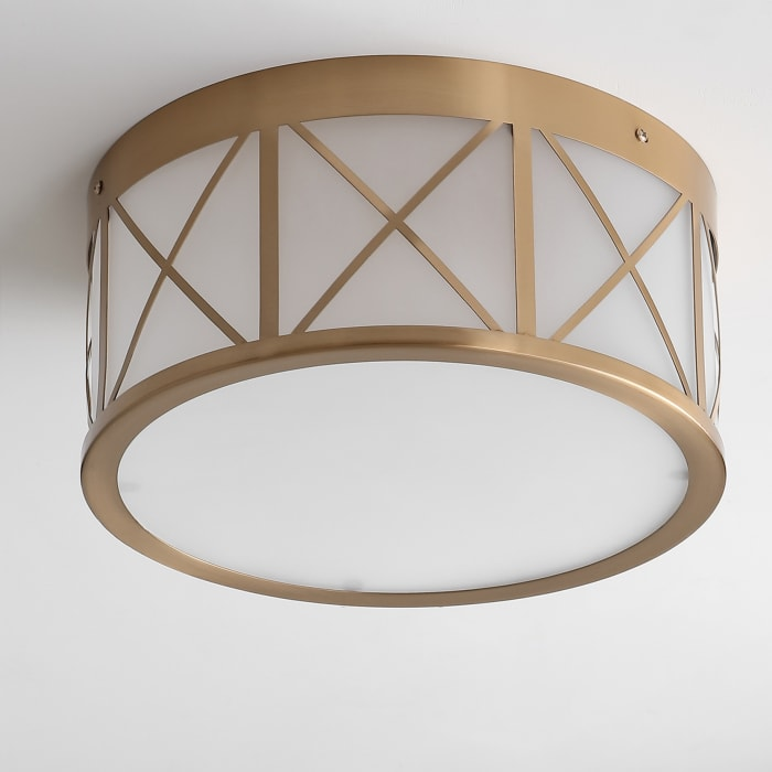 Drum Metal/Glass Flush Mount, Brass Gold