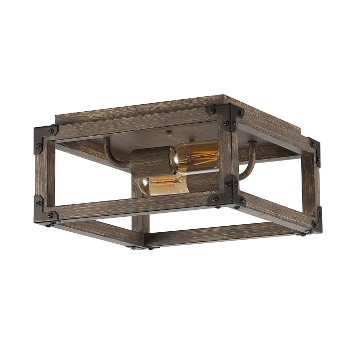 2-Light Iron Rustic Farmhouse LED Flush Mount, Brown