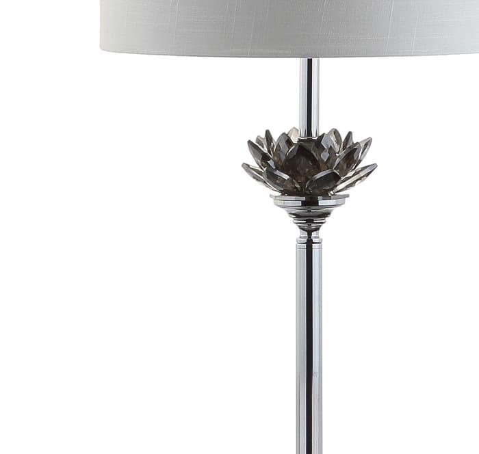Lotus Crystal / Metal LED Floor Lamp, Smoke Gray/Chrome