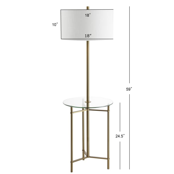 Metal/Glass LED Side Table and Floor Lamp, Brass
