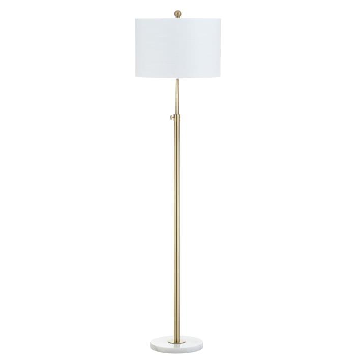 Adjustable Metal/Marble LED Floor Lamp, Brass