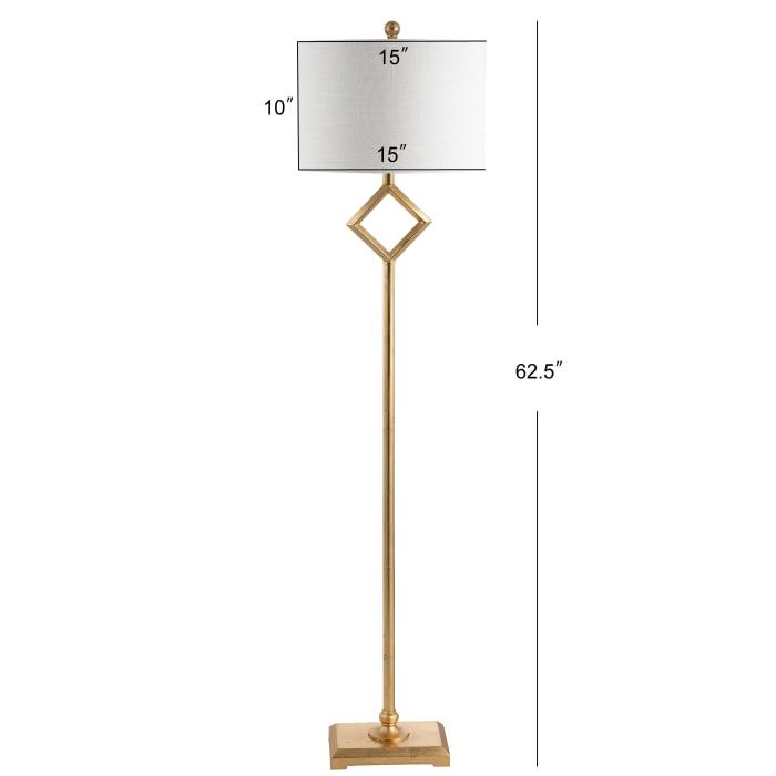 Metal LED Floor Lamp, Gold Leaf
