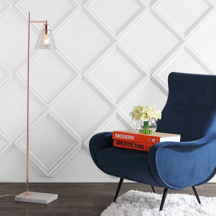 Modern Glam Metal/Marble LED Floor Lamp, Copper