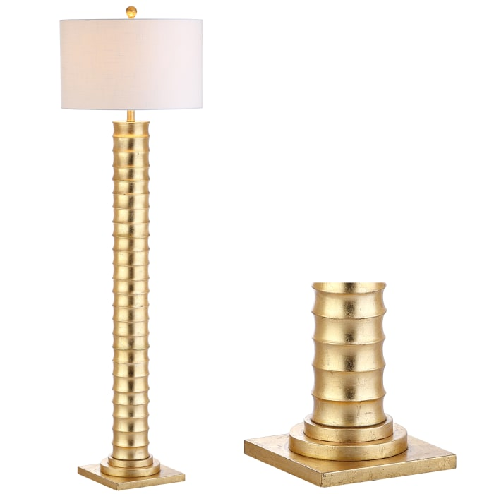 Metal LED Floor Lamp, Gold Leaf