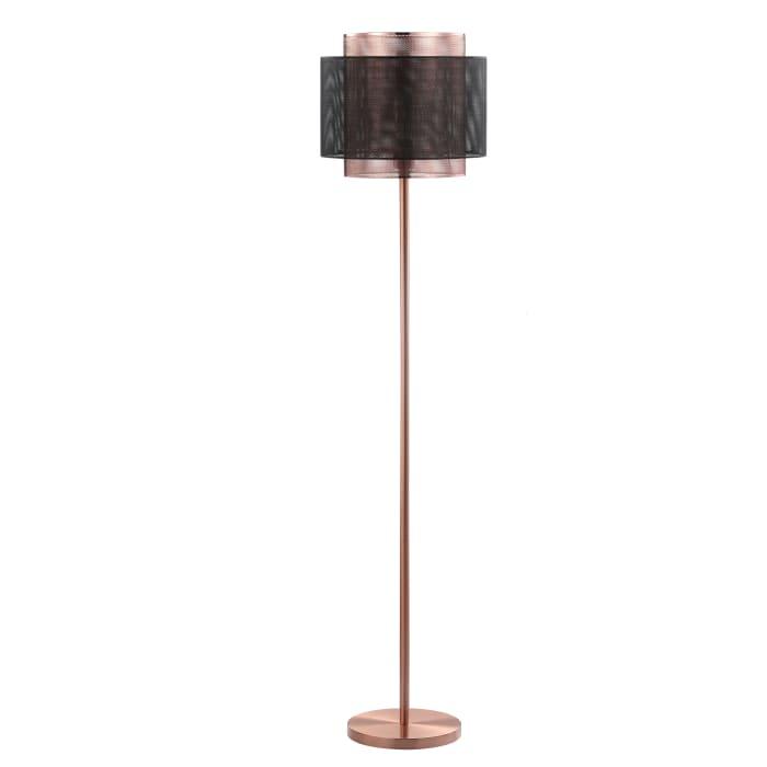 Metal LED Floor Lamp, Copper/Black